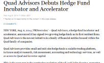Quad Advisors Debuts Hedge Fund Incubator and Accelerator