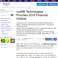 Root9b technologies provides 2016 financial outlook