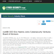 root9B CEO Eric Hipkins Joins Cybersecurity Ventures Board of Advisors