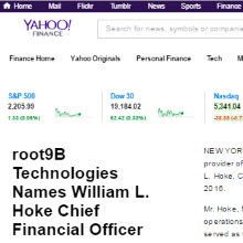 root9B Technologies Names William L Hoke Chief Financial Officer