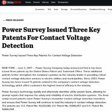 Power Survey Company Issued Three Key Patents