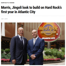 Jack Morris and Joe Jingoli at the Hard Rock Hotel and Casino Atlantic City one year after Hard Rock launch